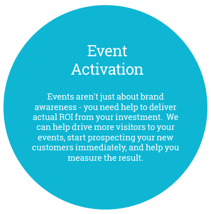 Event Activation Events aren't just about brand awareness - you need help to deliver actual ROI from your investment.  We can help drive more visitors to your events, start prospecting your new customers immediately, and help you measure the result.